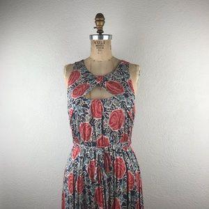 Anthro l Lilka Floral Rose Crossover Keyhole Dress